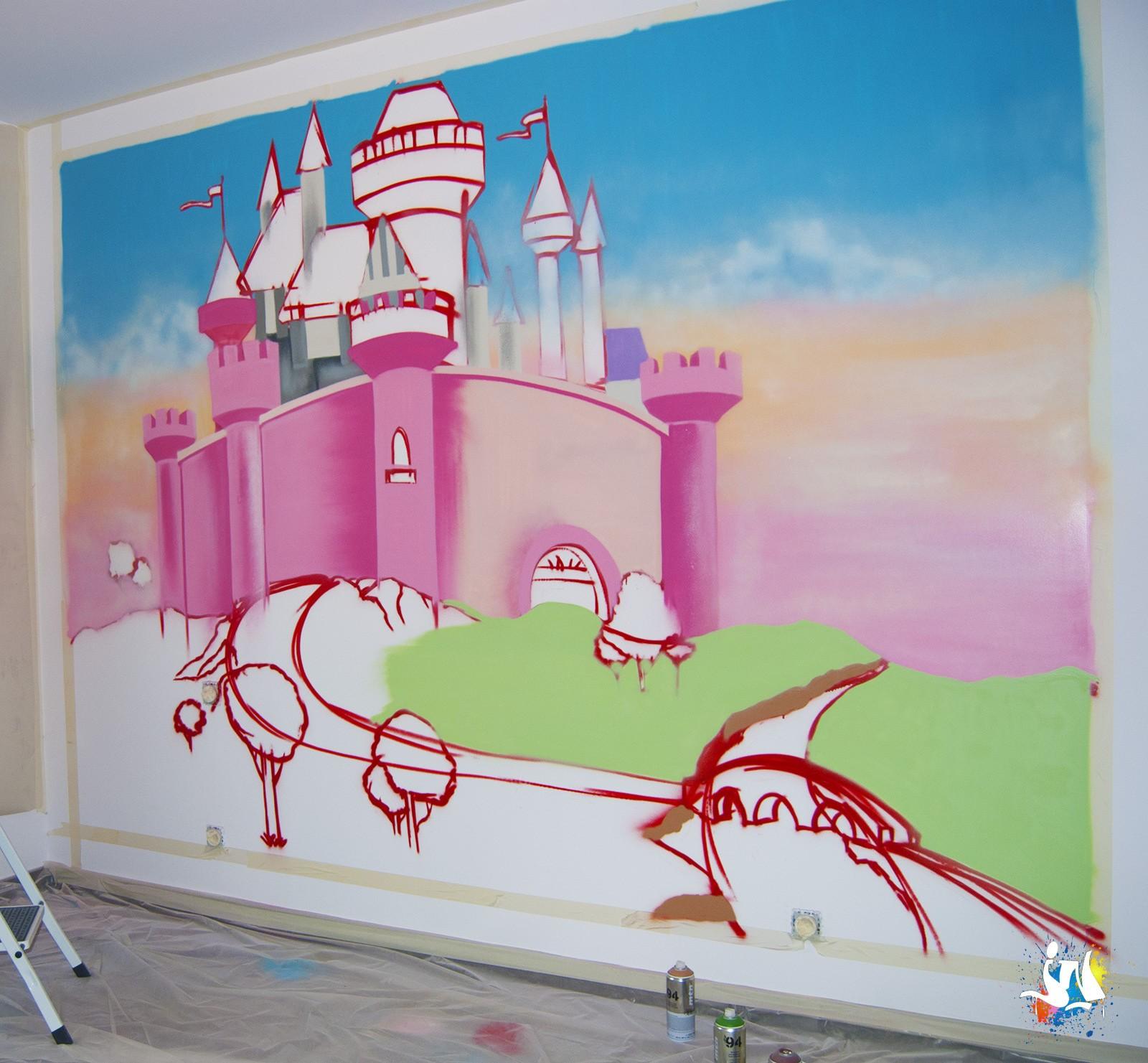 fresque murale graffiti f erique. Black Bedroom Furniture Sets. Home Design Ideas